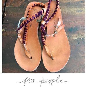 Free people boho velvet wrap sandals 8